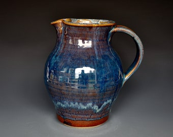 Royal Blue Pottery Pitcher Ceramic Pitcher Stoneware Pitcher Handmade Pitcher Jug A