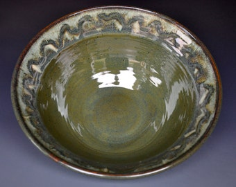 Green Ceramic Bowl Pasta Salad Bowl Handmade Pottery B