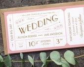 Destination Ticket Wedding Invitation / 'Just the Ticket' Art Deco 1920s Wedding Invite / Blush Pink Copper / Custom Colours / ONE SAMPLE