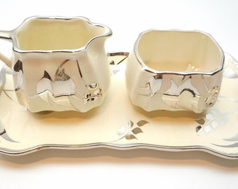 Vintage Sandland Ware Cream and Sugar Set with Tray, Silver Leaf Lusterware Lancaster Hanley Staffordshire England,