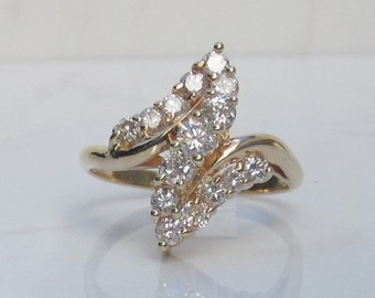 Estate Diamond Cluster Ring, .75 Carat Total Diamond Weight, Set in 14k Solid Yellow Gold, Size 7.5