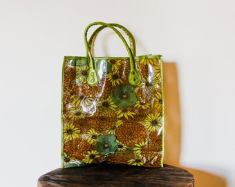 60s Mod Vintage Funky Chartreuse Olive Green and Brown Clear Plastic Vinyl Tote Bag