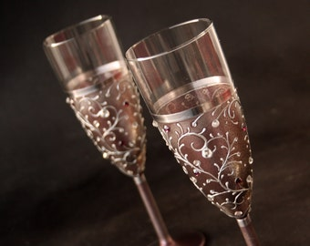 Champagne Glasses, Wedding Glasses, Champagne Flutes, Set of 2 Hand Painted
