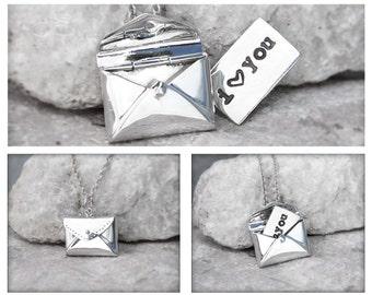 STERLING ENVELOPE NECKLACE - hidden message necklace, secret message locket, letter necklace, love note locket, hidden note
