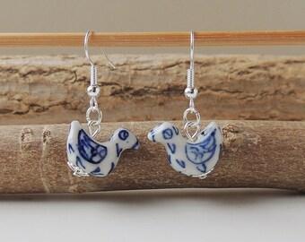 Blue Bird Earrings, Blue & White Ceramic Bird Bead Earrings, Bird Jewellery, Animal, Bohemian Jewellery, UK, 1099