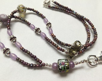 Lavender Rose Beaded Lanyard / Beaded Lanyard / ID Badge Holder