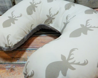 Nursing Pillow Cover - Neutral  Silver Gray Deer Head Boppy Cover with Gray Minky