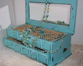 Vintage Robins Egg Blue Jewelry Box Organizer with a Distressed Faux Finish Shabby Chic Beach Decor