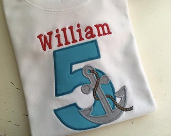 Anchor Birthday Shirt or Onesie with Number and Name any color fabrics