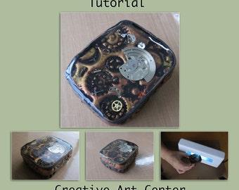 Polymer Clay Tutorial - How to Create Steampunk Tin Box, PDF Tutorial, Digital File
