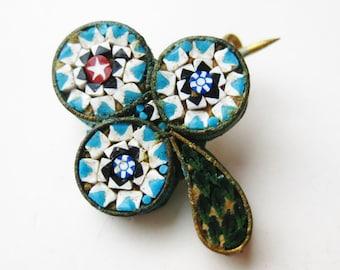 Vintage 50s Italian Murano Venetian Micro Mosaic Three Leaf Clover Art Glass Brooch Pin