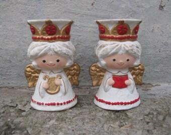 "ceramic angel candle holder pair mid century 5 "" tall original box"