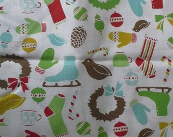 Christmas Print Cotton Fabric, Blue Skates, Green Wreaths, Red Stockings 1 Yard X0531