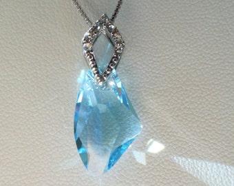 Genuine Swarovski Crystal Necklace   19mm Galactic Vertical Pendant in Aquamarine