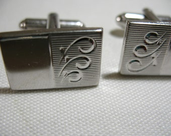 Vintage Silver Tone Cuff Links, Signed SHIELD's