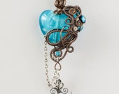 OOAK Aqua blue steampunk heart pendant with key