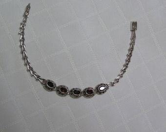 Vintage silver garnet marcasite bracelet
