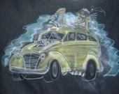 Vintage Hot Rod Taxi Airbrush Painting Art gasser rockabilly Wilder beast Forever black Crew Neck Sweatshirt S