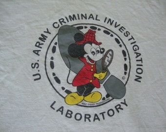 Vintage 90's United States Army Criminal Investigation Laboratory Mickey Mouse Walt Disney T shirt L / XL