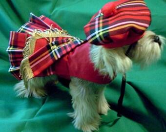 Red Royal Stewart Tartan Pet Kilt and Hat with Red Bodice XXXS-XXS-XS-S-M-L
