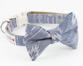 Navajo Chambray Bowtie Dog Collar