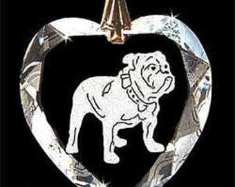 Bulldog Dog Jewelry Custom Crystal Necklace Pendant, Suncatcher with any Animal or Name YOU Want, Gift, Dog Lover, Handler, Trainer