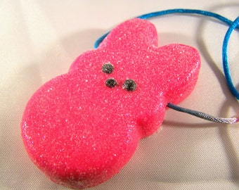 Peeps Easter Bunny Necklace Polymer Clay Kids Child Holiday Necklace JUST REDUCED