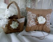 Burlap Flower girl basket and ring bearer pillow set. Rustic wedding. Your choice of  flower and lace color. Shabby chic wedding accessory.