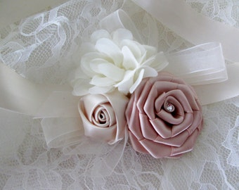 Wrist corsage, Fabric flowers corsage pin, Mother of the bride, Mother of the groom, Grandmother fabric corsage pin