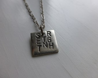 strength jewelry, hand stamped metal necklace, recovery, encouragement, God, strong women, jewelry, wonderkath, I can, inspirational saying
