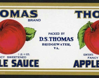 1930s Thomas Applesauce  Big Red Apple Sauce Bridgewater VA Can Label