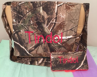 REALTREE CAMO fabric Embroidered Diaper Bag & wipes case with free name