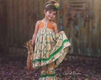 Girls Reverse Knot Dress Clementine Collection Toddler Infant Girls Orange Green