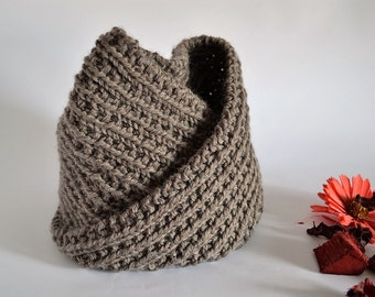 Handmade knit cowl wood brown Neck warmer Handmade Infinity Scarf Unisex Accessories