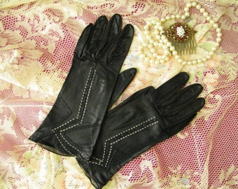 Vintage Embroidered Leather Gloves, S