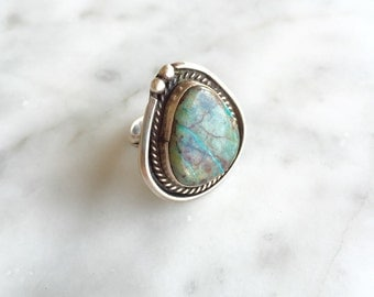 Beautiful Veined Turquoise & Sterling sz. 7 Unisex Ring