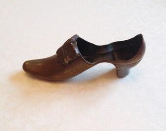 Vintage Brass Shoe Pin Cushion.