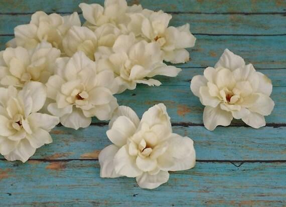 OVERSTOCK SALE 10 Cream Delphinium Blossoms 3 Inch Size - Silk Flowers
