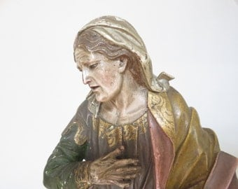 Carved Wooden Polychromed Figure Of A Saint