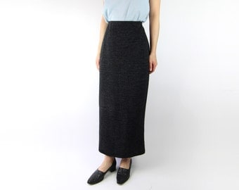 VINTAGE 1990s High Waist Skirt Long Grey Slit Textured
