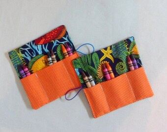 Crayon Roll-Up , Kids Birthday Party Favor Girls and Boys Crayon Roll Fish Fabric Crayon Wallets 6 Crayons Included