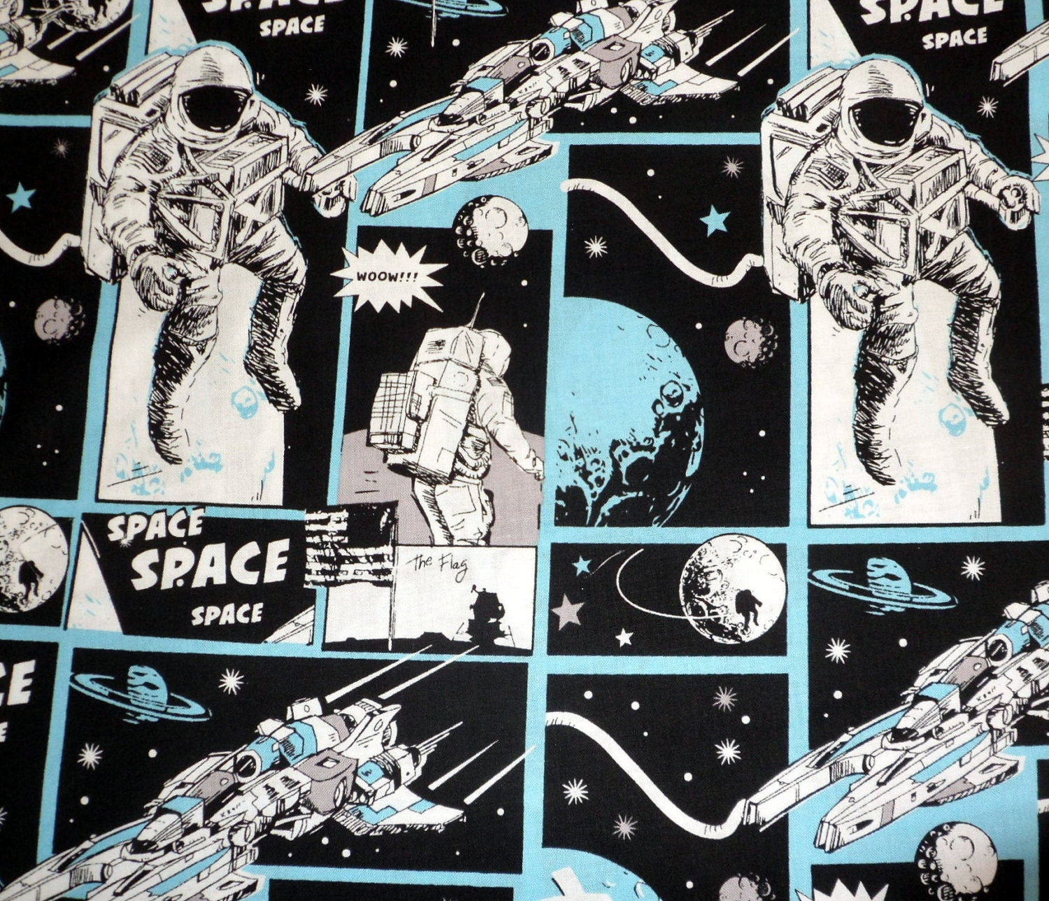 Astronaut fabric space fabric astronauts comic fabric for Space fabric quilt