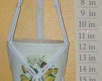 Macrame Plant Hanger Mini 20in FRIENDSHIP - White  (Choose Color)