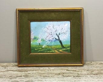 Enamel and Copper Painting, 70s Gold Frame Painting, Cherry Blossom Painting, Green Velvet Frame, A H Riise Virgian Islands