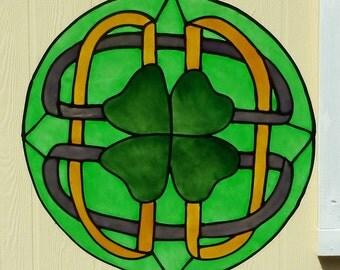 Four leaf clover mandala window cling