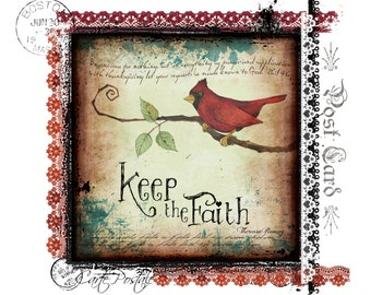 Keep The Faith Redbird Handmade Loose Canvas.