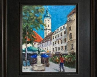 Munich St. Peters Church, Germany, Bavaria, Original Oil Painting, German Landscape Painting, Viktualienmarkt, Germany Painting, Souvenier