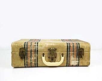 Striped Shabby Hardside Suitcase / Vintage Luggage