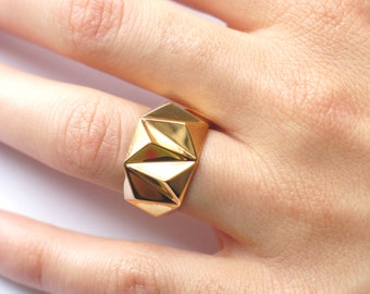 Geometric Prism Solid 3d Printed Ring- 18K Gold Plated
