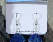 Blue lapis diamond earrings September December birthstone square semiprecious stone jewelry packaged in a colorful gift bag 3079